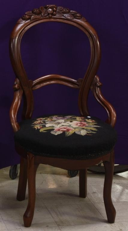 10G: 19th c. Carved Walnut Balloon Back Chair