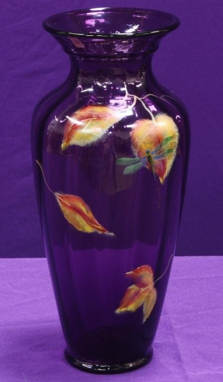 10K: Tall Fenton Amethyst Vase with HP Flowers