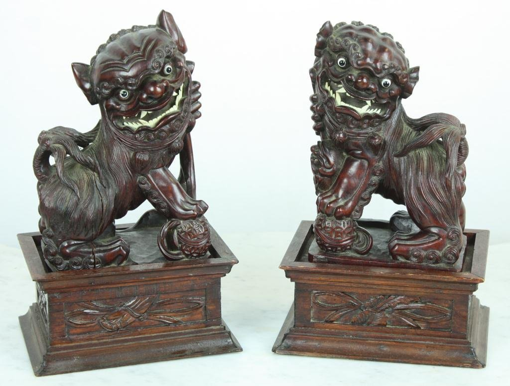 3: Carved Wooden Foo Dogs