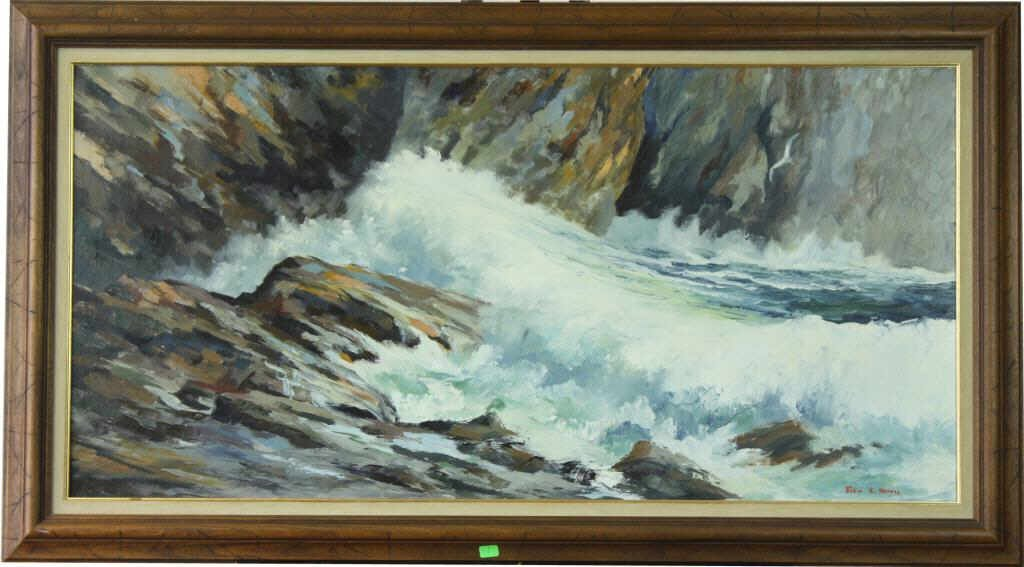 "13: ""Thunder Hole"" Oil on Canvas By John E. Harris"