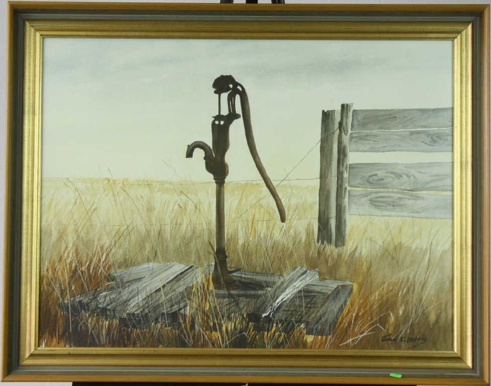 "15: ""Country Pump"" Watercolor By John E. Harris"