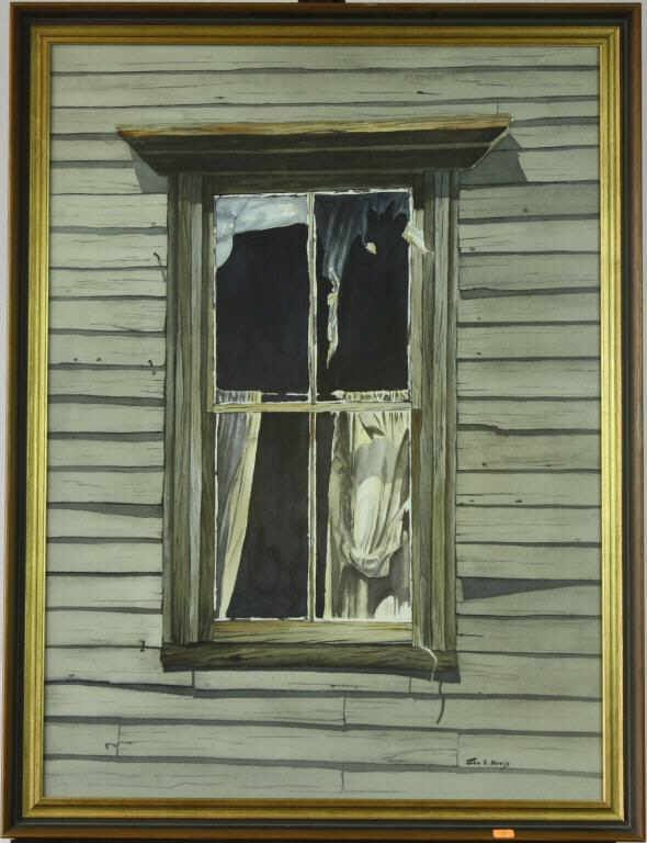 "20: ""The Window"" Watercolor By John E. Harris"