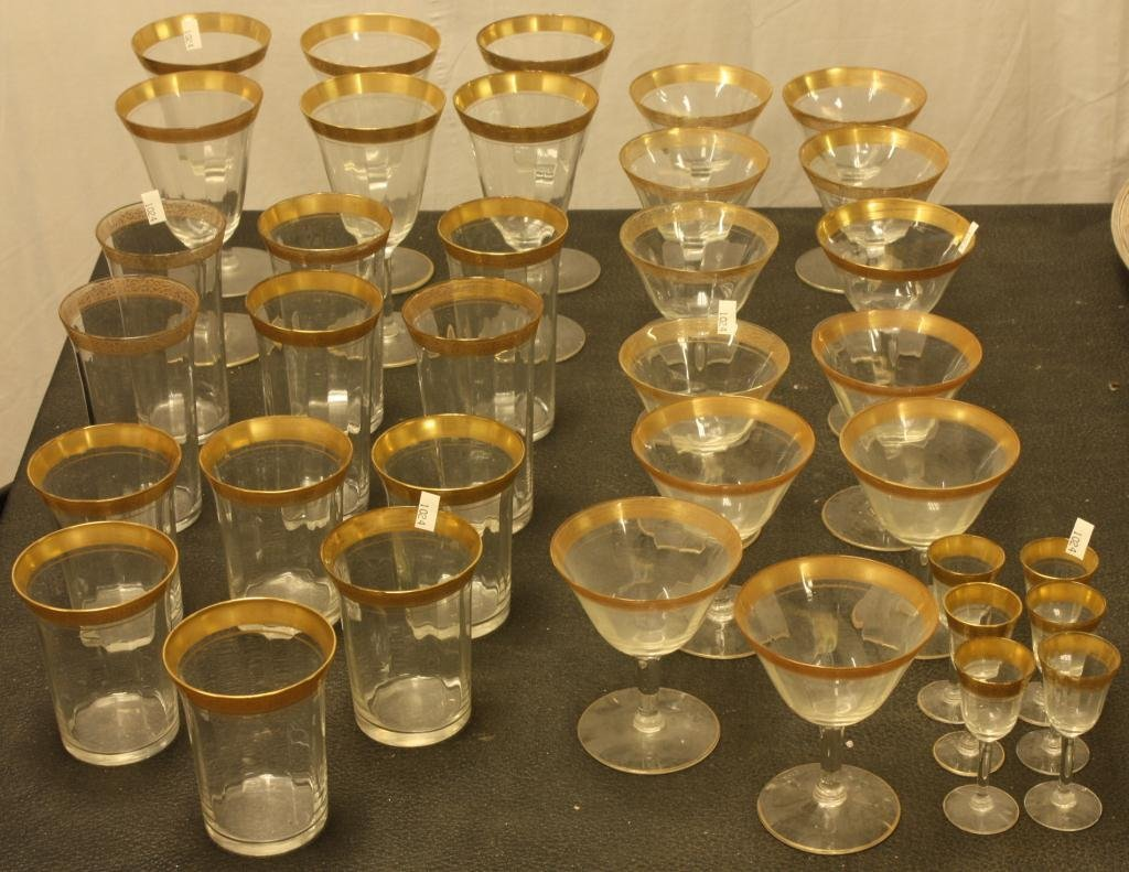 366: Lot of Gold Rimmed Crystal Stemware and Tumblers