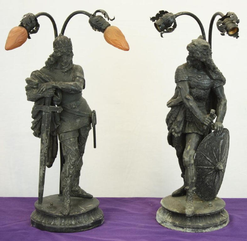 3: Pair of Early Roman Spelter Lamps