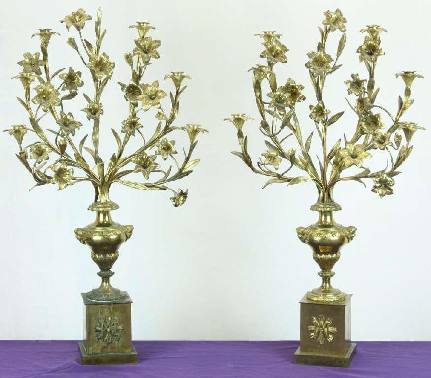 7: Fine Heavy Brass Floral Candleabras