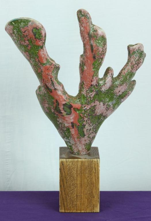 9: Coral Form Sculpture on Wooden Base