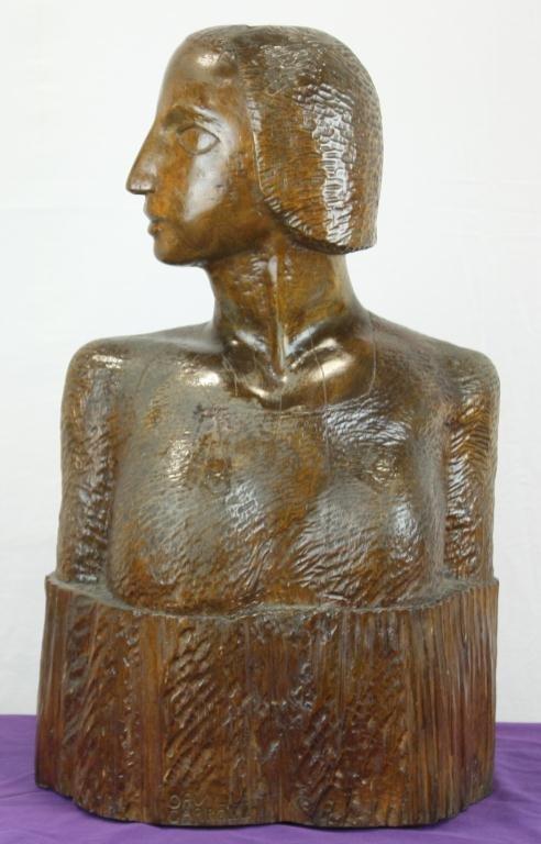 14: Folk Art Carved Wooden Female Bust