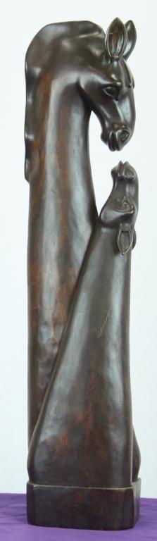 17: Wooden Mother and Baby Giraffe Wooden Sculpture