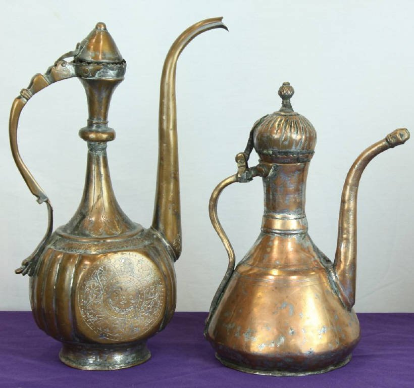 19: Early Copper and Brass Etched Ewers (2)