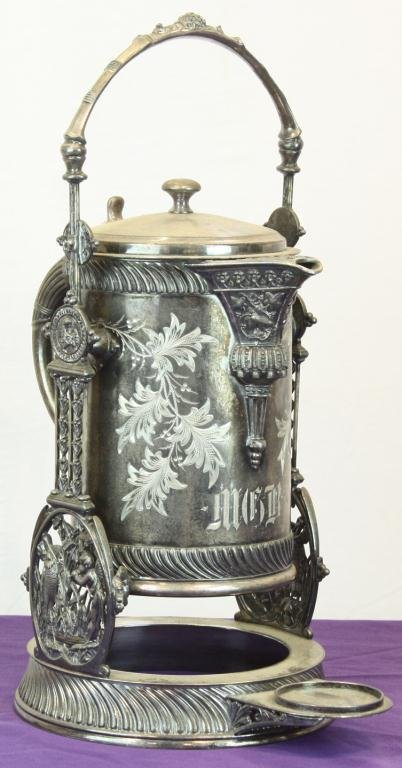 24: Early Etched Silverplated Coffee Pot