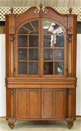 126: Large Glass Front Pine Corner Cupboard