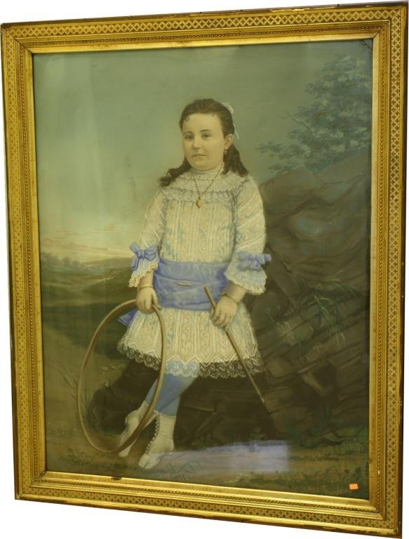 9: Large Pastel Portrait of Young Girl