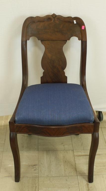 25: Burled Mahogany Victorian Side Chair