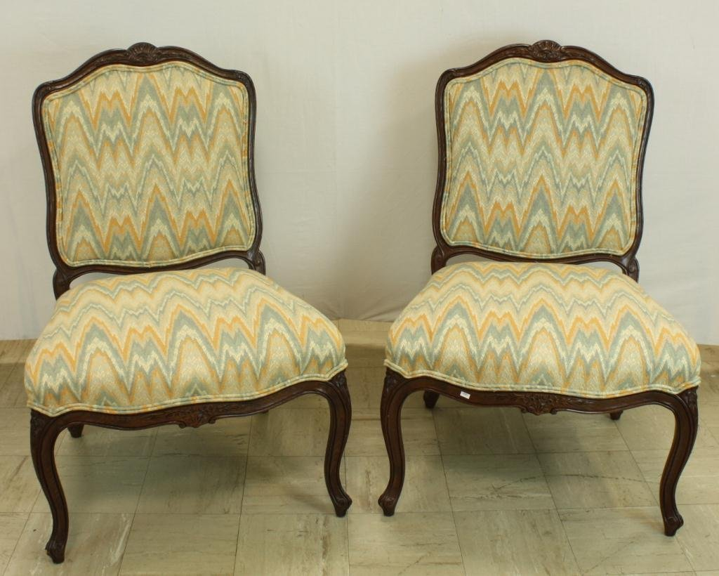 27: Pair of Carved Provincial Flamestitched Chairs