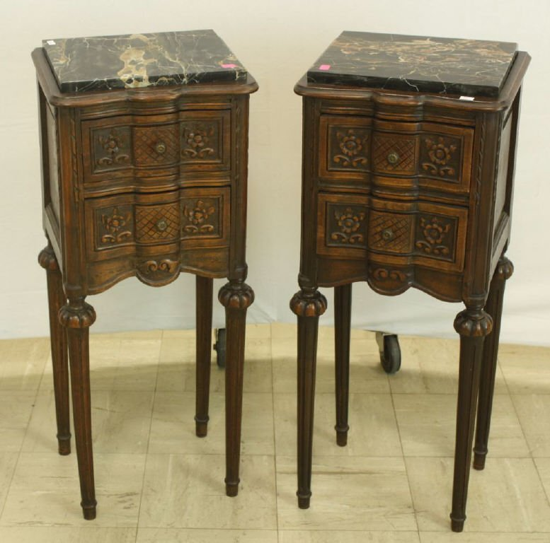 30: Pair of Petite Provincial Marble Top Stands
