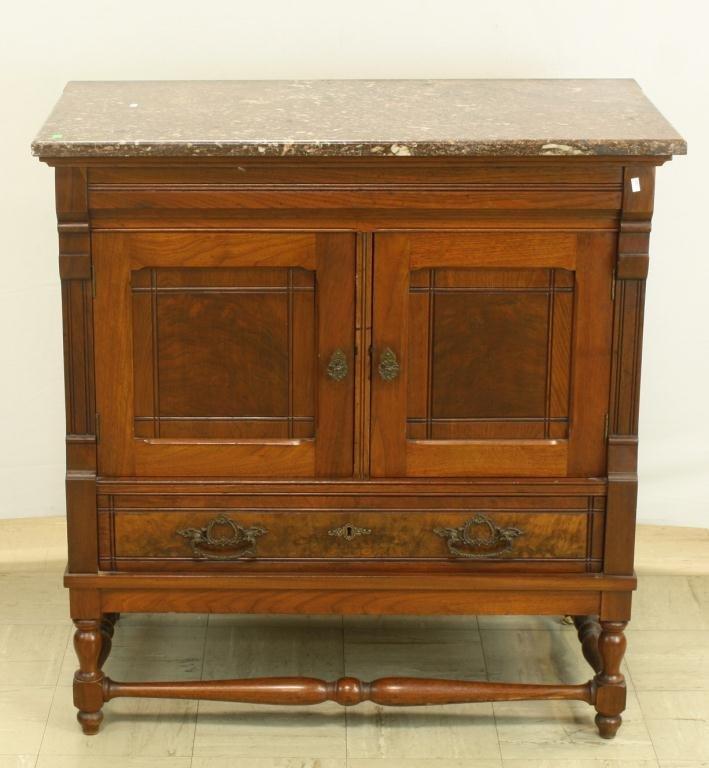 31: Marble Top Walnut 1 Drawer 2 Door Cabinet
