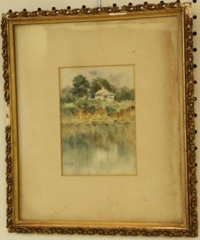 PAUL SAWYIER Watercolor of House by Water