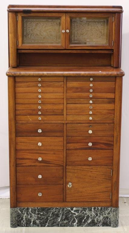 Cherry Dental Cabinet w/ Bird's Eye Maple Drawers