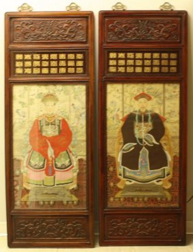 Pair Of Chinese Hand Painted Royalty Portraits