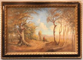 Oil On Canvas Of Man Walking In Woods