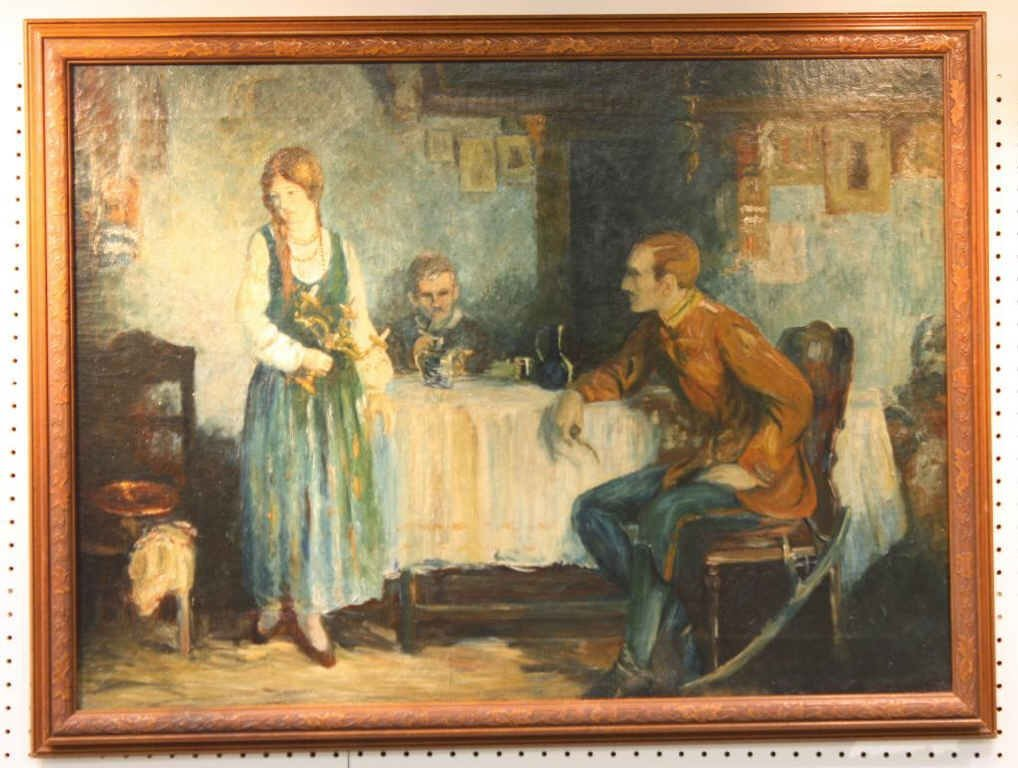 Oil on Canvas of 2 Men and a Woman