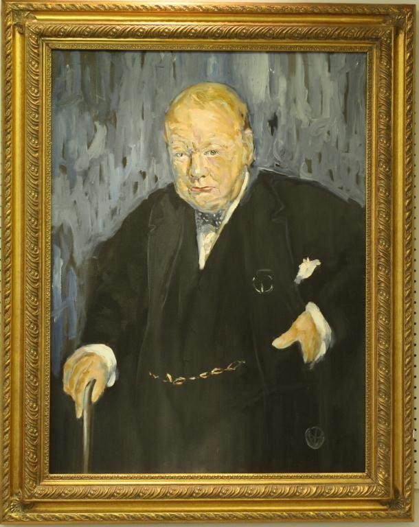 Original Oil on Canvas of Winston Churchill