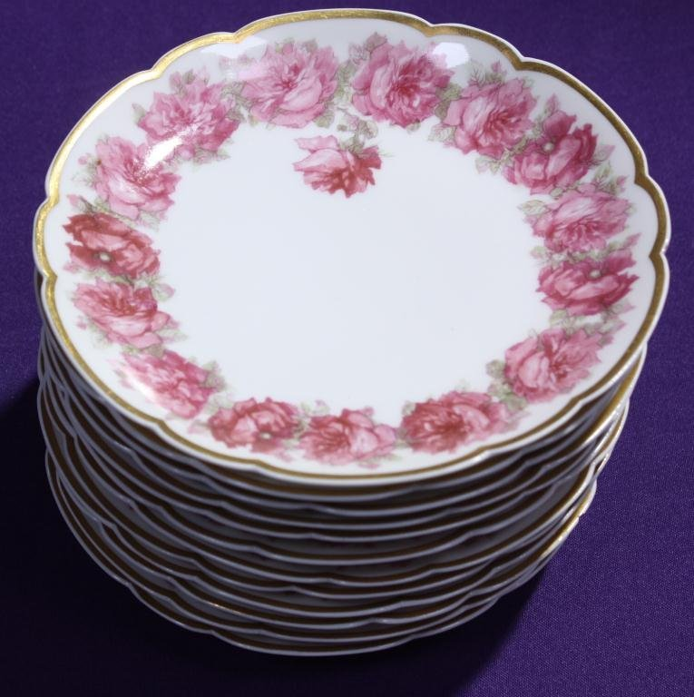 Haviland Limoges Rose Transfer Plates (12)