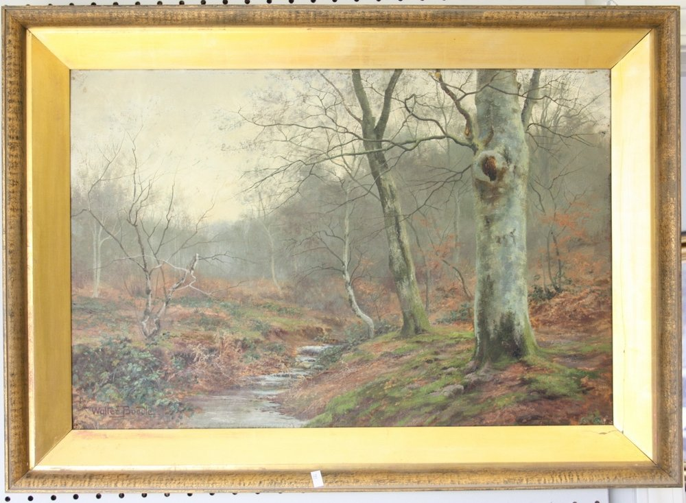 Beech Forest With Brook, Oil On Canvas