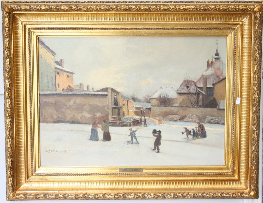 Snow Covered Village Scene With Children Playing