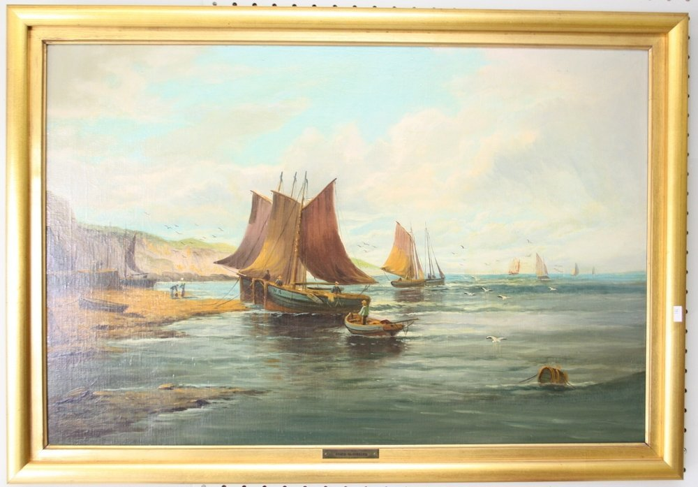 Maritime Coastline With Harbor And Sailing Boats,