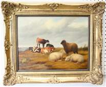 Four Cows And Sheep, Oil On Wood