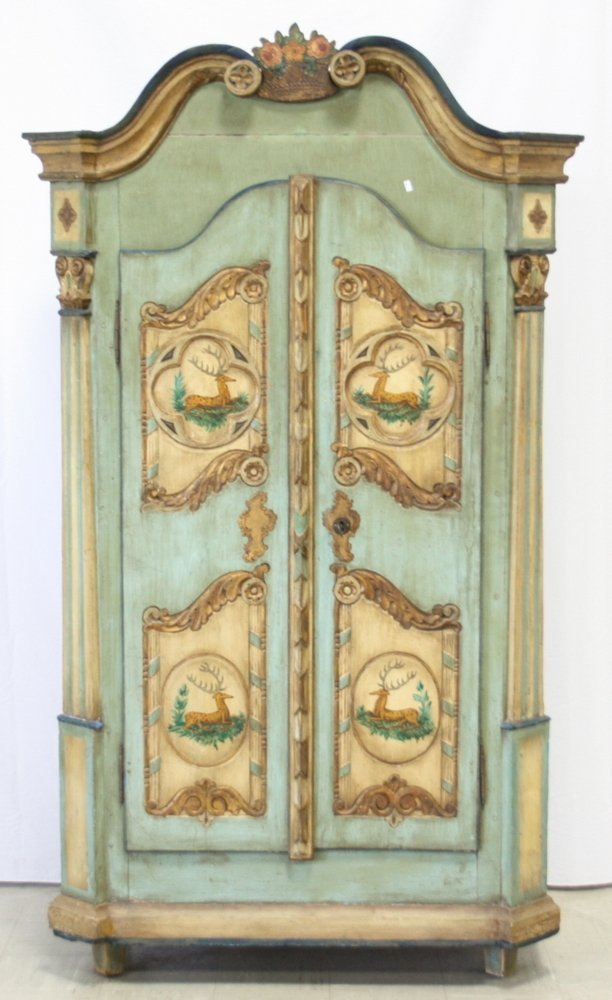 Baroque Carved And Polychromed Pine Armoire