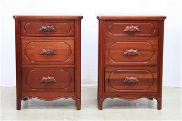 Pair Of Davis Cabinet Co Solid Cherry Commodes
