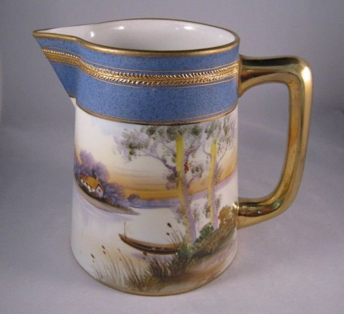 Antique Nippon Pitcher with Hand Painted Boat & Cottage