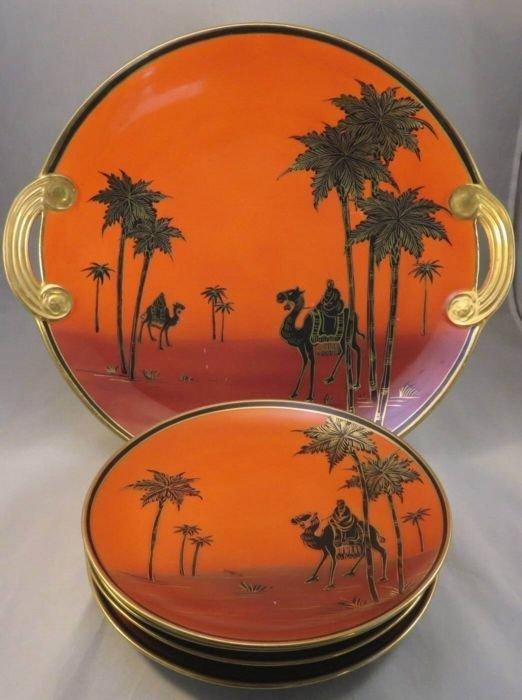 "Scarce 5 Piece Antique Nippon ""Man on Camel"" Cake Set"