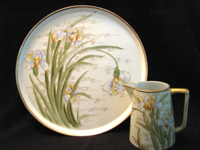 Tray and pitcher in irises near water pattern