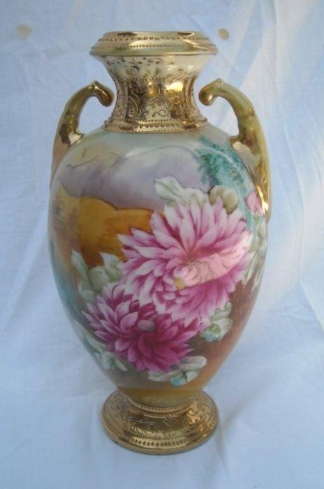 """Nippon 10 1/2"""" Pink Floral Vase."""