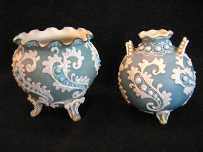 Two aqua blue moriage pieces