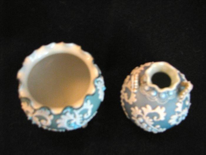 Two aqua blue moriage pieces - 2