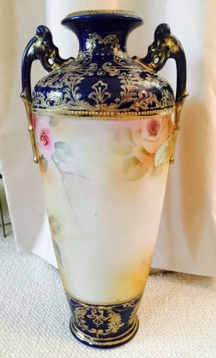 Large Nippon (13.5 inches tall) unmarked cobalt vase - 3