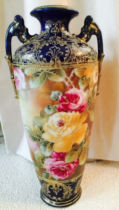 Large Nippon (13.5 inches tall) unmarked cobalt vase - 4