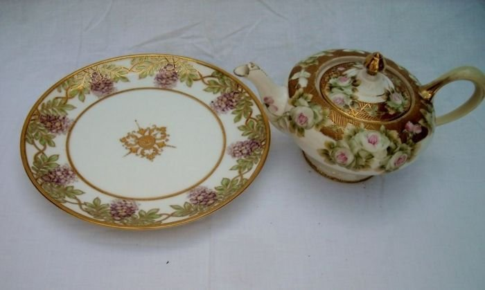 Nippon Plate and Footed Tea Pot