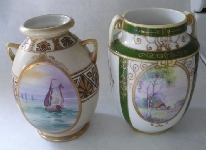 Two Vases, Boat and Country Scene