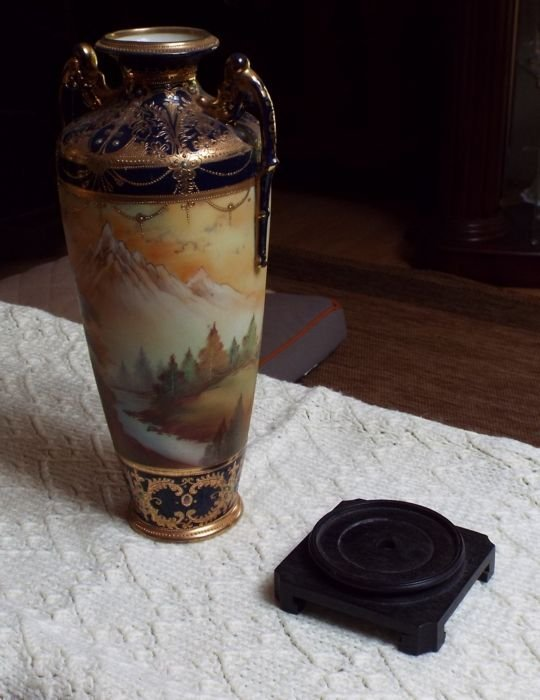 Sacred Mountain (Red Mountain) Vase with Teak Stand.