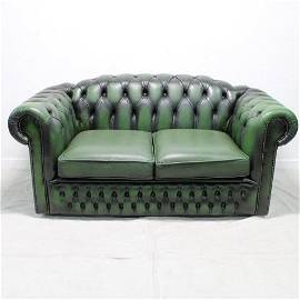 Green Leather Hump Back Chesterfield Loveseat