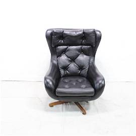 European Black Vinyl Swivel Chair #1