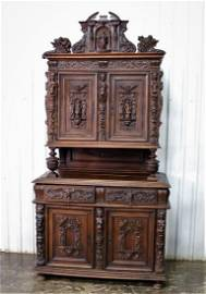 Antique French Cabinet with Carved Religious Figures