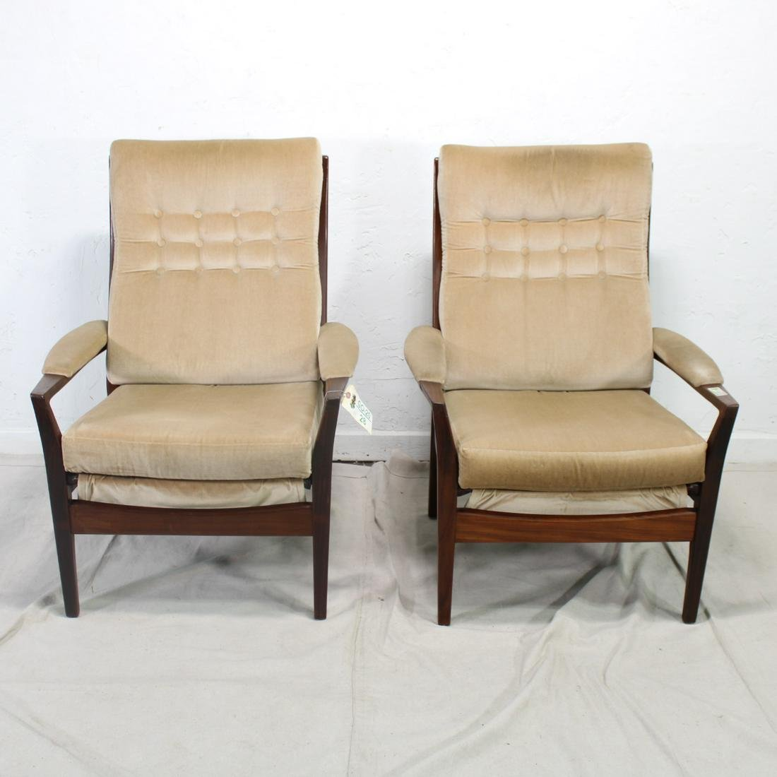 Pair High back Mid Century Modern Lounge Chairs