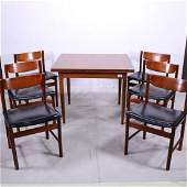 Mid Century Modern Draw Leaf Table & 6 Chairs