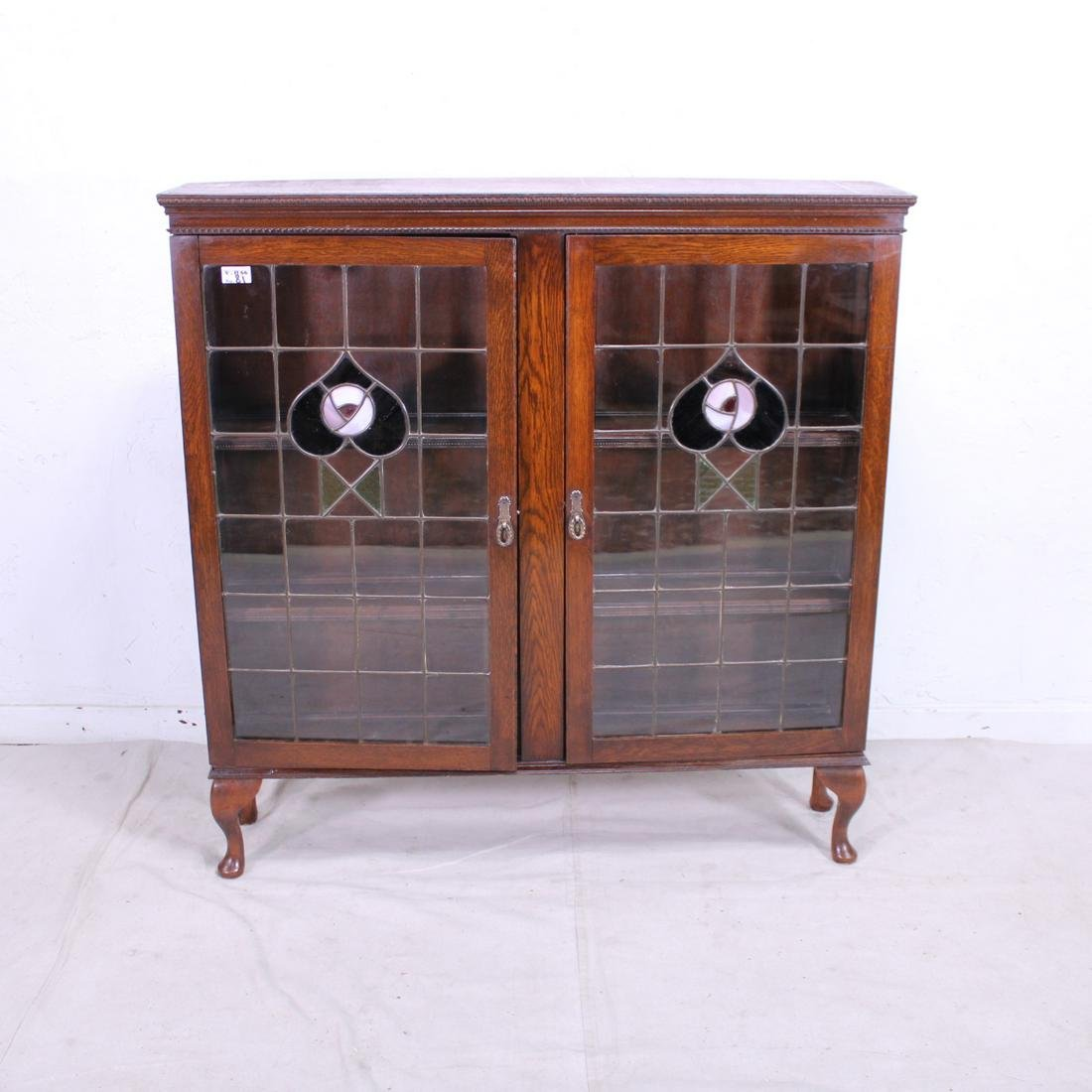British Display Cabinet with Stained Glass Doors in Oak
